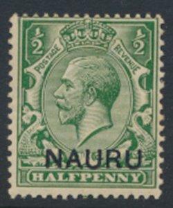 Nauru   SC# 1  GB OPT  thinker Overprint font  issued 1916- see detail & scans