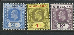 ST HELENA 1908 2½d, 4d & 6d (BOTH CHALKY) MM SG 64/7 CAT £67