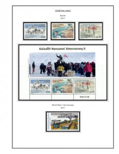 COLOR PRINTED GREENLAND 2011-2018 STAMP ALBUM PAGES (48 illustrated pages)