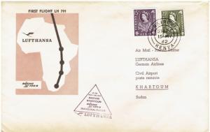 NAIROBI, KENYA  LUFTHANSA 1st INAUGURAL FLIGHT, 5/15/ 1962, TO KHARTOUM, SUDAN
