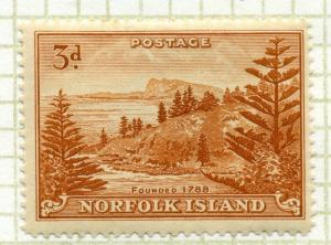 NORFOLK ISLAND;  1947 early issue fine Mint hinged 3d. value