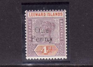 D1-Leeward Is.-Scott#17-unused lightly hinged QV 1p on 4p li