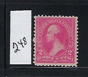 US #248 - 1894 WASHINGTON  2C (PINK-TYPE I) MINT NEVER HINGED
