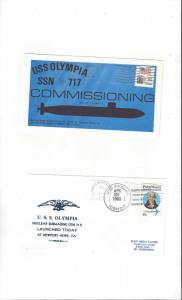 US Navy USS Olympia SSN 717, 2 Covers, Commission/Launch