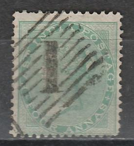 INDIA 1865 QV 4A GREEN WMK ELEPHANT HEAD USED