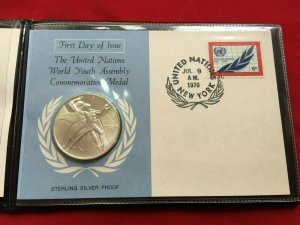 UN world youth assembly commemrative sterling silver proof medal with fdc