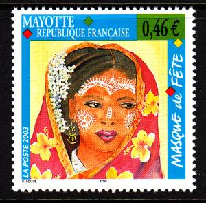 Mayotte MNH Scott #186 46c Holiday Face Decorations