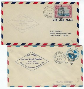 MINNESOTA - 4 EVENT AIR MAIL COVERS 1930-31 DULUTH & ST. PAUL CANCELS - C24