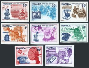 Rwanda 746-753 imperf,MNH.Mi 807B-814B. Telephone-100,1976.Alexander Graham Bell