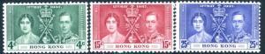 HONG KONG-1937 Coronation Set Sg 137-139 UNMOUNTED MINT V15316