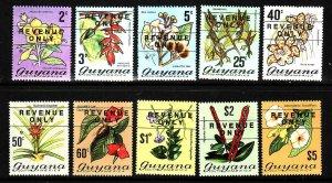 Guyana-Sc#134-6,141-7-unused NH -Flowers-overprinted Revenue Only set -