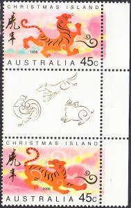 Christmas Island #410-411 MNH  Gutter Pair w/Label