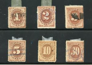 UNITED STATES POSTAGE DUE SCOTT#J1/6   USED  AS SHOWN--SCOTT VALUE $250.00