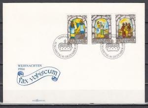 Liechtenstein, Scott cat. 801-803. Religious Christmas issue. First day cover.