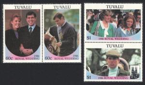 Tuvalu Royal Wedding Prince Andrew 4v Pairs 1986 MNH SG#397-400