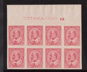 Canada #90a XF/NH Plate #13 Block Of Eight