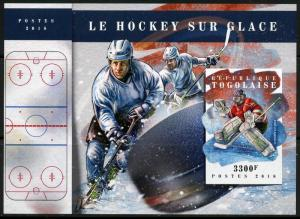 TOGO 2018 ICE HOCKEY IMPERFORATE SOUVENIR SHEET MINT  NH