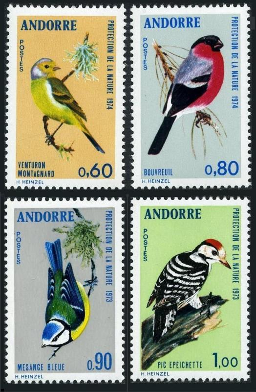 Andorra Fr 228-231,MNH. Birds 1973-74.Titmouse,Citril finch,Bullfinch,Woodpecker