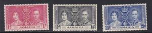 Jamaica # 113-115, 1937 Coronation, Hinged, Half Cat