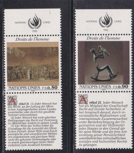 United Nations - Geneva # 224-225, Human Rights with Tabs, NH, 1/2 Cat.