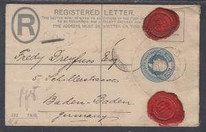 Transvaal H&G C4a used 1903 4p Registered Envelope to Baden-Baden, Germany
