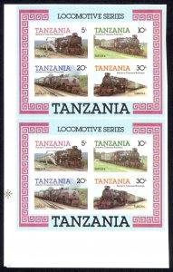 Tanzania Sc# 274a MNH pair IMPERF (ERROR) 1985 Locomotives Souvenir Sheet