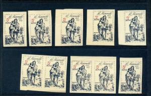 10 VINTAGE 1915-1917 LA MATERNELLE KINDER GARDEN POSTER STAMPS (L773) FRANCE