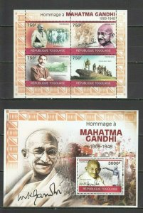 TG1235 2010 TOGO FAMOUS PEOPLE GREAT HUMANISTS TRIBUTE MAHATMA GANDHI BL+KB MNH