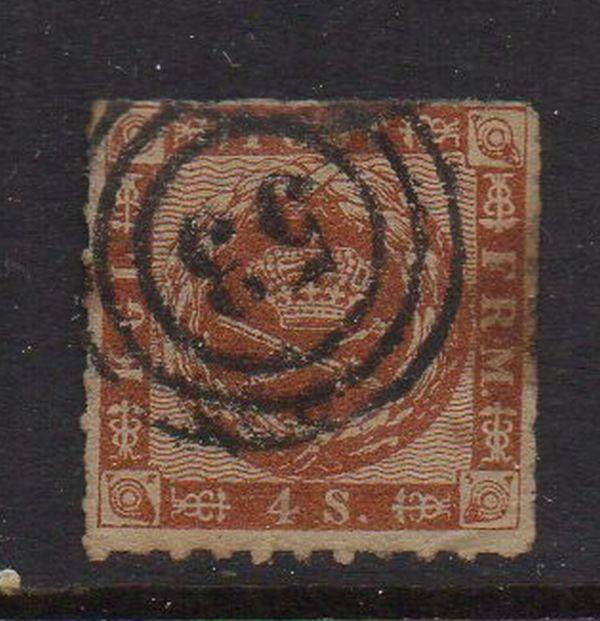 Denmark Sc 9 1863 4s brown Royal Emblems stamp rouletted  used