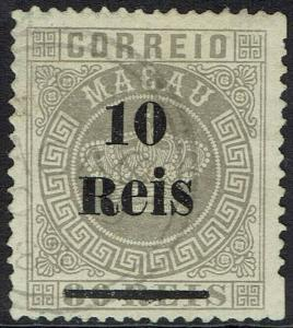 MACAU 1887 CROWN 10R ON 80R USED