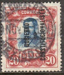 MEXICO 430, 20¢ REVOLUT OVPT GOBIERNO $ CONSTITUC. USED. F-VF. (298)