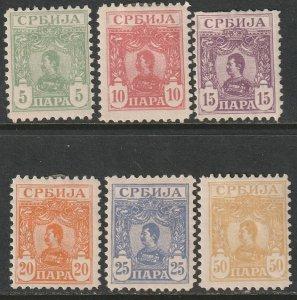Serbia 1901 Sc 59-64 partial set MH