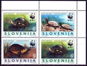 Slovenia. 1996. 131-34. WWF, water turtles, fauna. MNH.