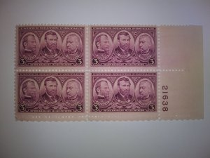 SCOTT # 787 PLATE BLOCK ARMY ISSUE MINT NEVER HINGED