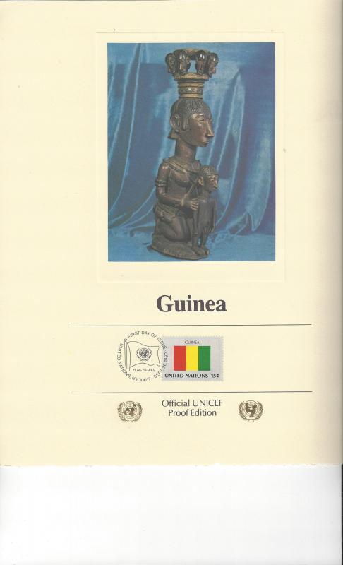United Nations UNICEF Flag Proof Edition Panel Guinea 1980
