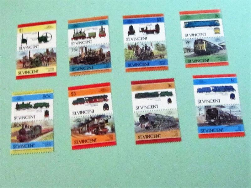 St. Vincent - 747-54, MNH Set (Pairs). Locomotives. SCV - $3.65