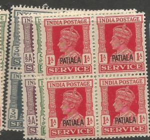 India Patiala SG O71, 73-5 Block of 4 MNH (1cwr)