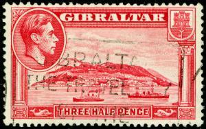 GIBRALTAR SG123a, 1½d carmine, USED. Cat £22. PERF 13½