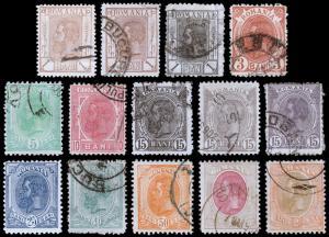 Romania Scott 132-144, 146 (1901-03) Used/Mint H F-VF, CV $24.40 B
