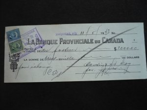 Canada - Revenue - KGVI War Issue Stamps on cheque dated 1943