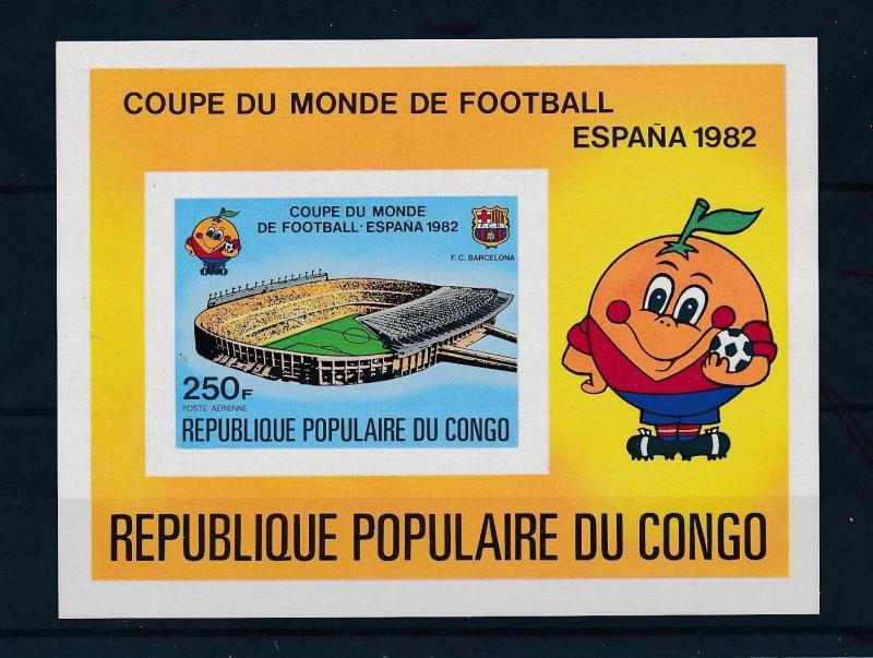[46518] Congo Brazzaville 1980 Sports World Cup Soccer Spain Imperf. MNH Sheet