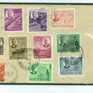 Ap369 North Borneo HIGH VALUES 1950 Unusual Cover KGVI Issues Set incl $5 & $10