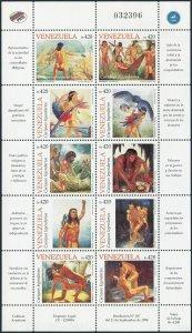 Venezuela 1602 aj sheet,MNH.Mi 3312-3321. Legendary Caciques,1998.Indians,Bird.
