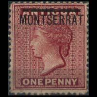 MONTSERRAT 1876 - Scott# 1 Queen Opt. 1p NH no gum