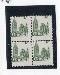 CANADA # 790 BLOCK OF 4 MNH SUPERF MASSIVE MISPERF SHIFTING CAT VALUE $100