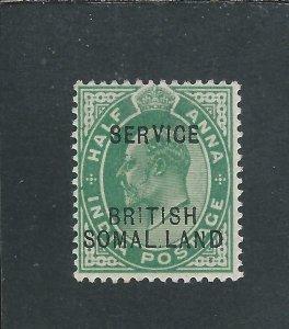 SOMALILAND OFFICIAL 1903 ½a GREEN BRIT SH (MISSING I) MM SG O6a CAT £95
