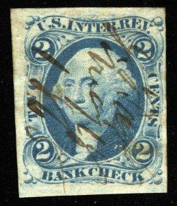 B458 U.S. Revenue Scott R5a 2c Bank Check imperforate, manuscript cancel