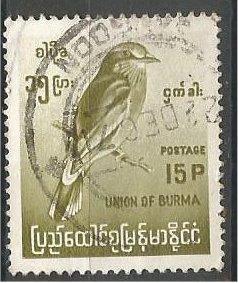 BURMA, 1964, used 15p, Birds Scott 181