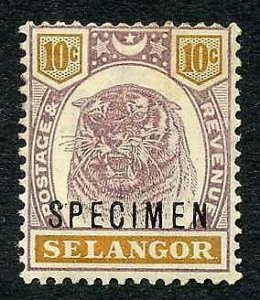 Selangor SG57s 10c Opt Specimen (M/M Hinge remainders and brown gum)