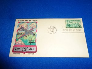 FLEUGEL MULTI COLORED CACHET FDC:  US SCOTT# C35